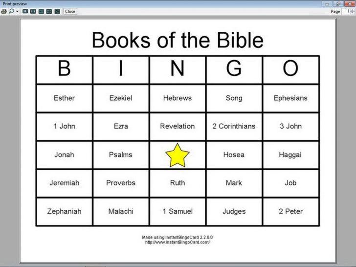 Books Of The Bible Printable Bingo Cards