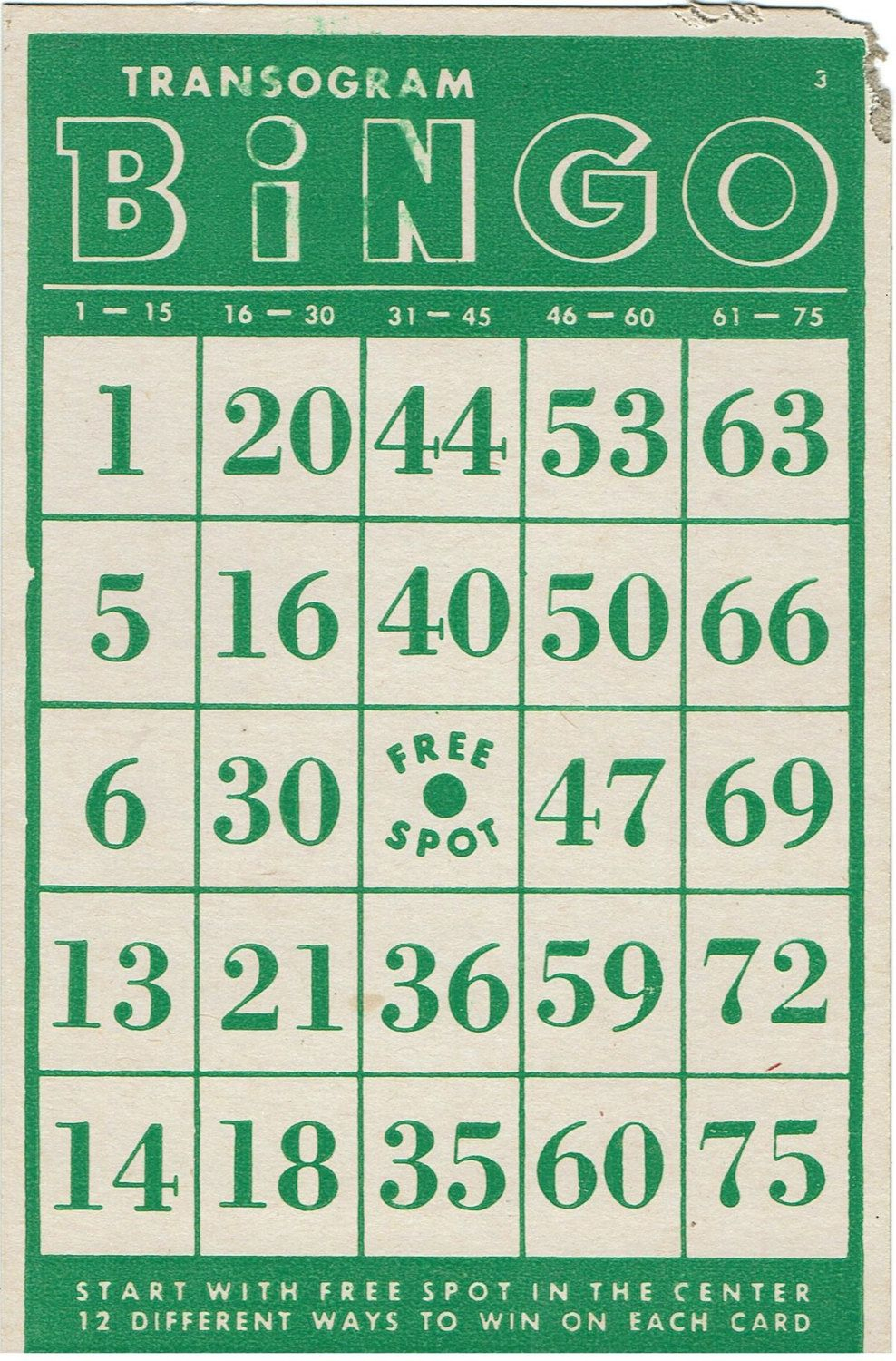 Vintage Transogram Bingo Card Green And Whiteassemblager