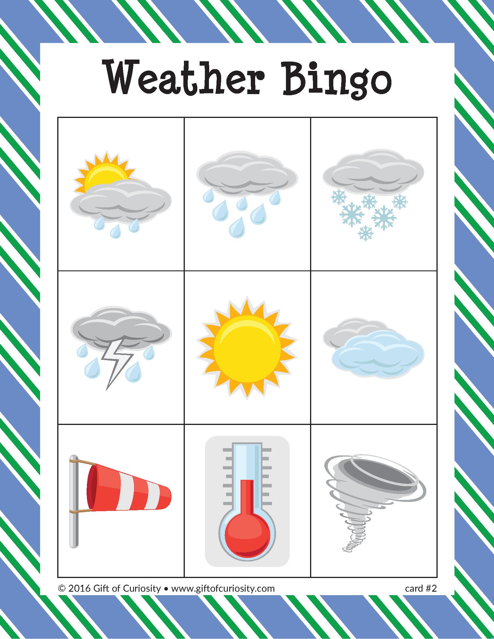 Weather Bingo | Bingo, Weather Vocabulary, Weather Kindergarten