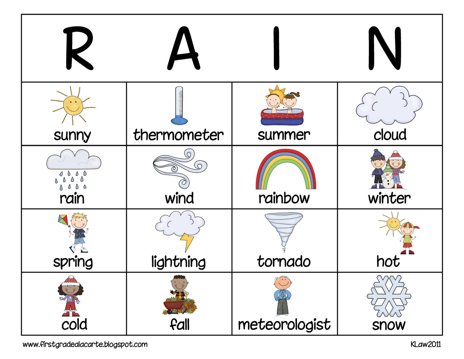 Weather Worksheet: New 795 Printable Weather Bingo Cards