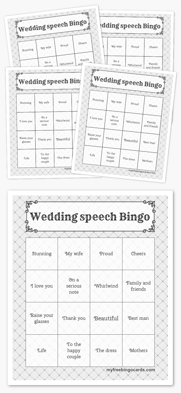 Wedding Speech Bingo   Free Printable Bingo Cards, Bingo