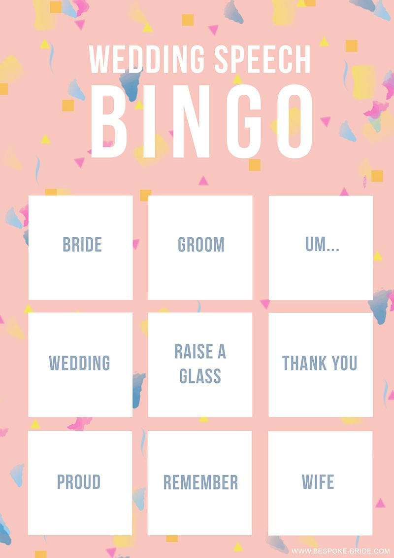 Wedding Speech Bingo Free Printable Game | Wedding