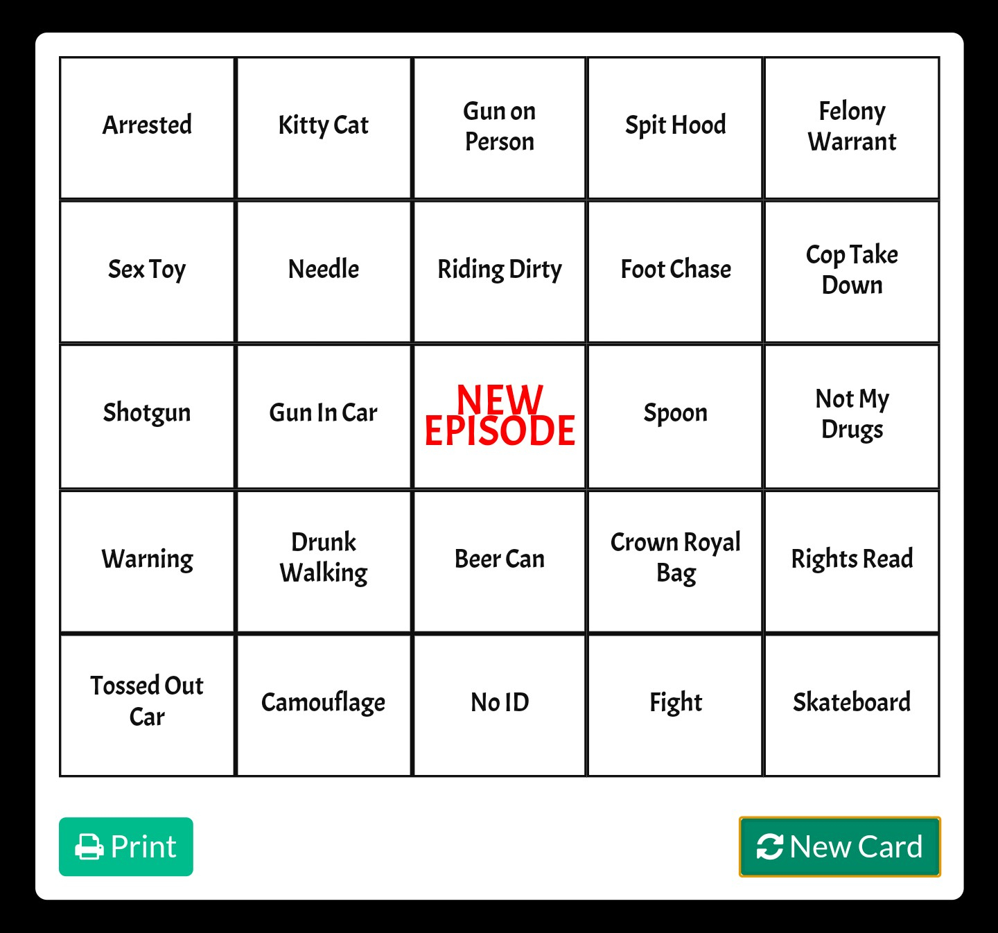 What's Everyone's Bingo Card For The Night? : Livepd