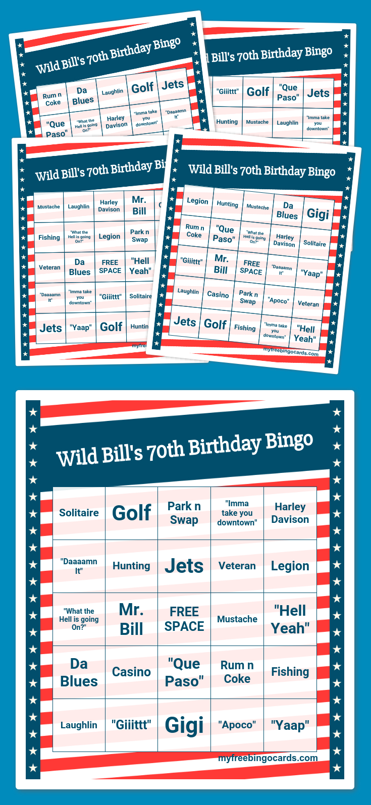 Wild Bill's 70Th Birthday Bingo | Bingo Card Generator, Free