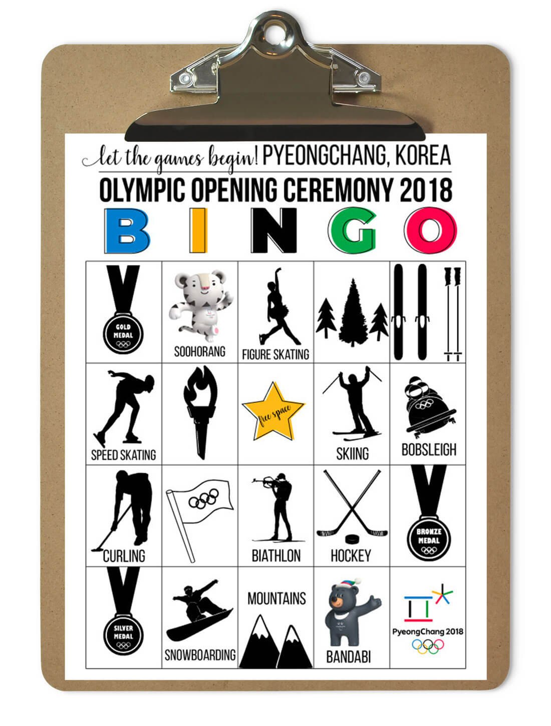 Winter Olympics 2018 Bingo