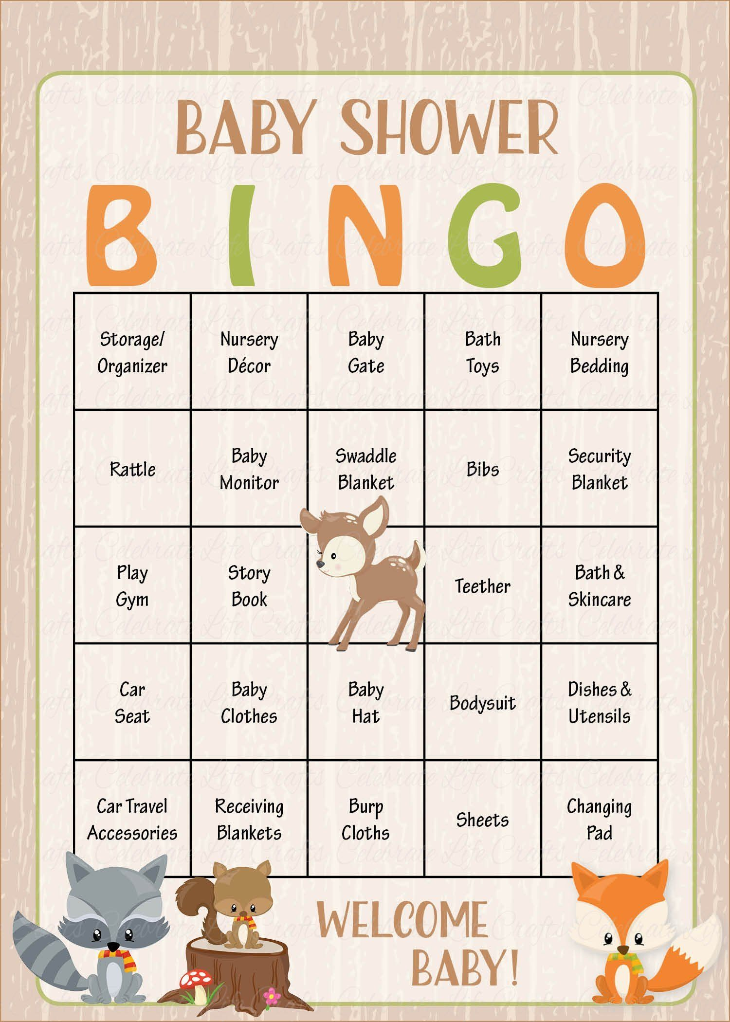 Woodland Baby Bingo Cards - Printable Download - Prefilled