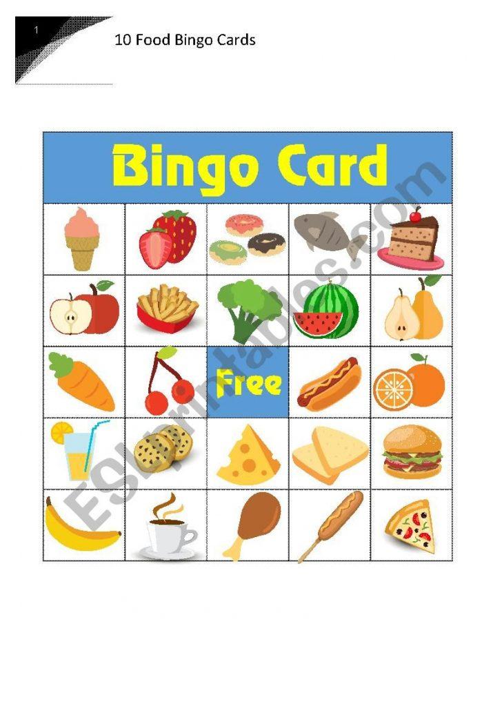 Food Bingo Cards Printable