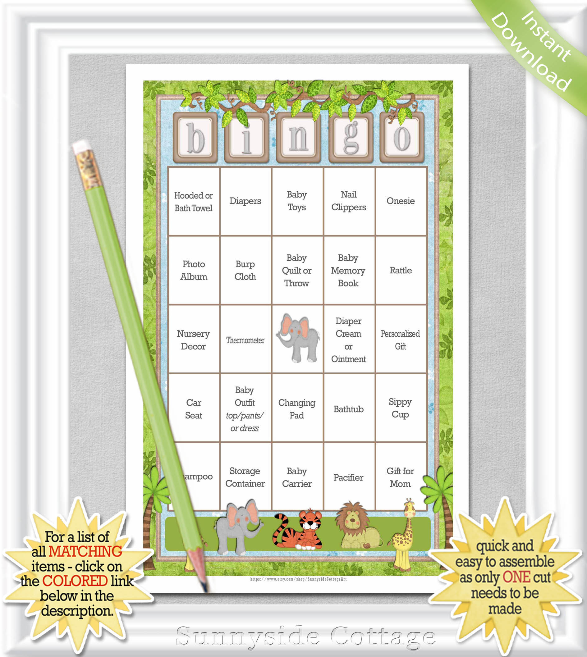 100 Card Baby Bingo Game With A Safari/jungle Theme, Gender Neutral  Pre-Populated Baby Bingo Cards - No Duplicates, Diy Printable, 15Ba