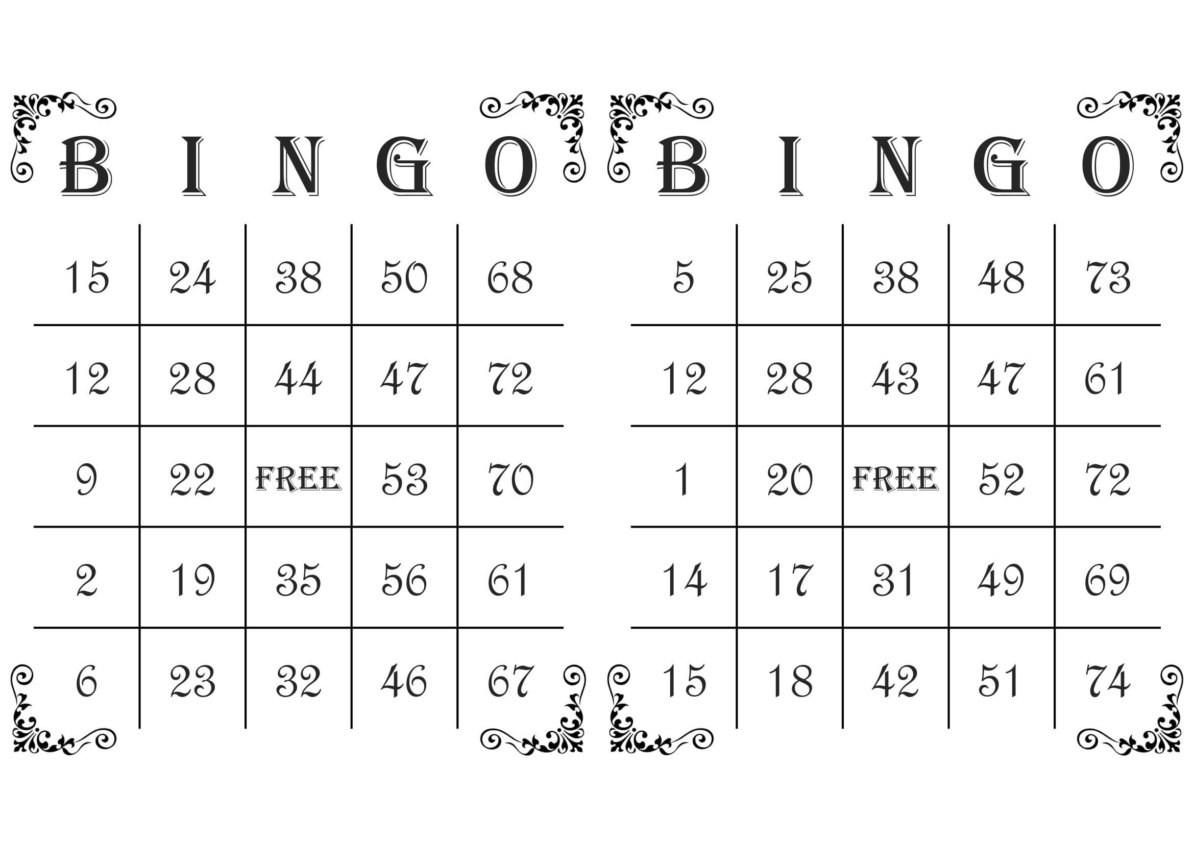 1000 Bingo Cards, 2 Per Page, Immediate Pdf Download, Corner