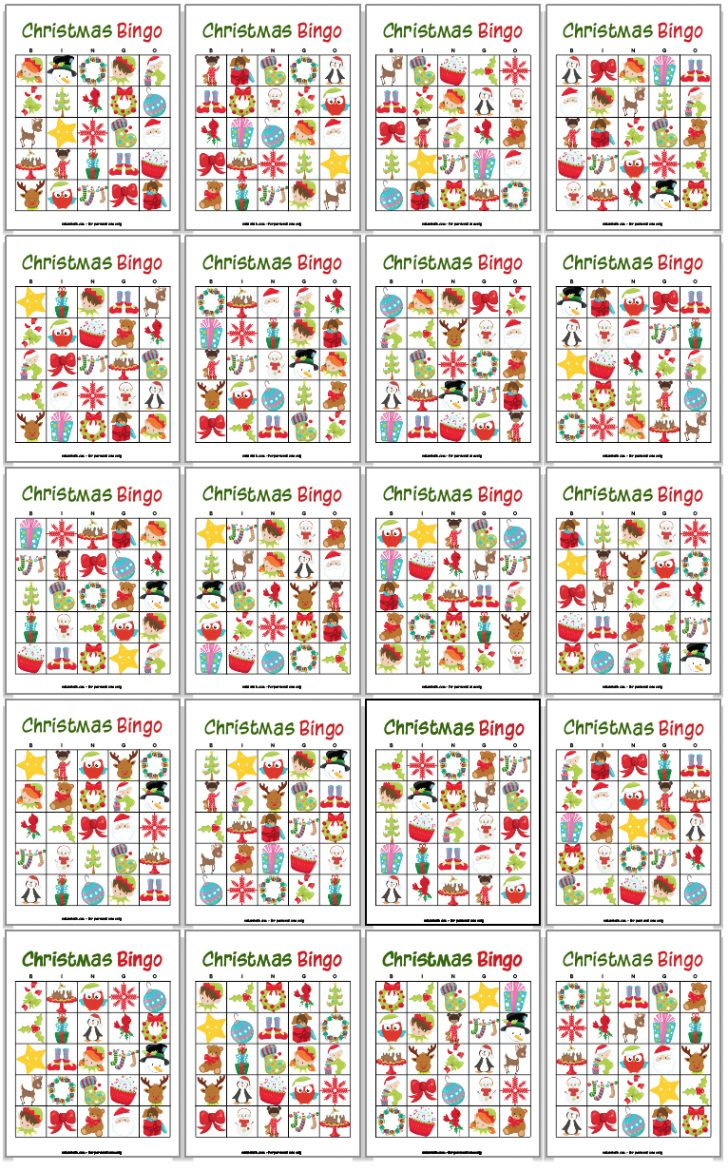 Printable Holiday Bingo Cards