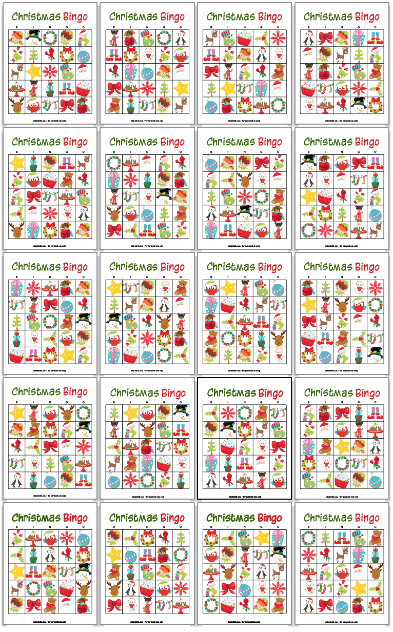 20 Printable Christmas Bingo Cards   Christmas Bingo, Free
