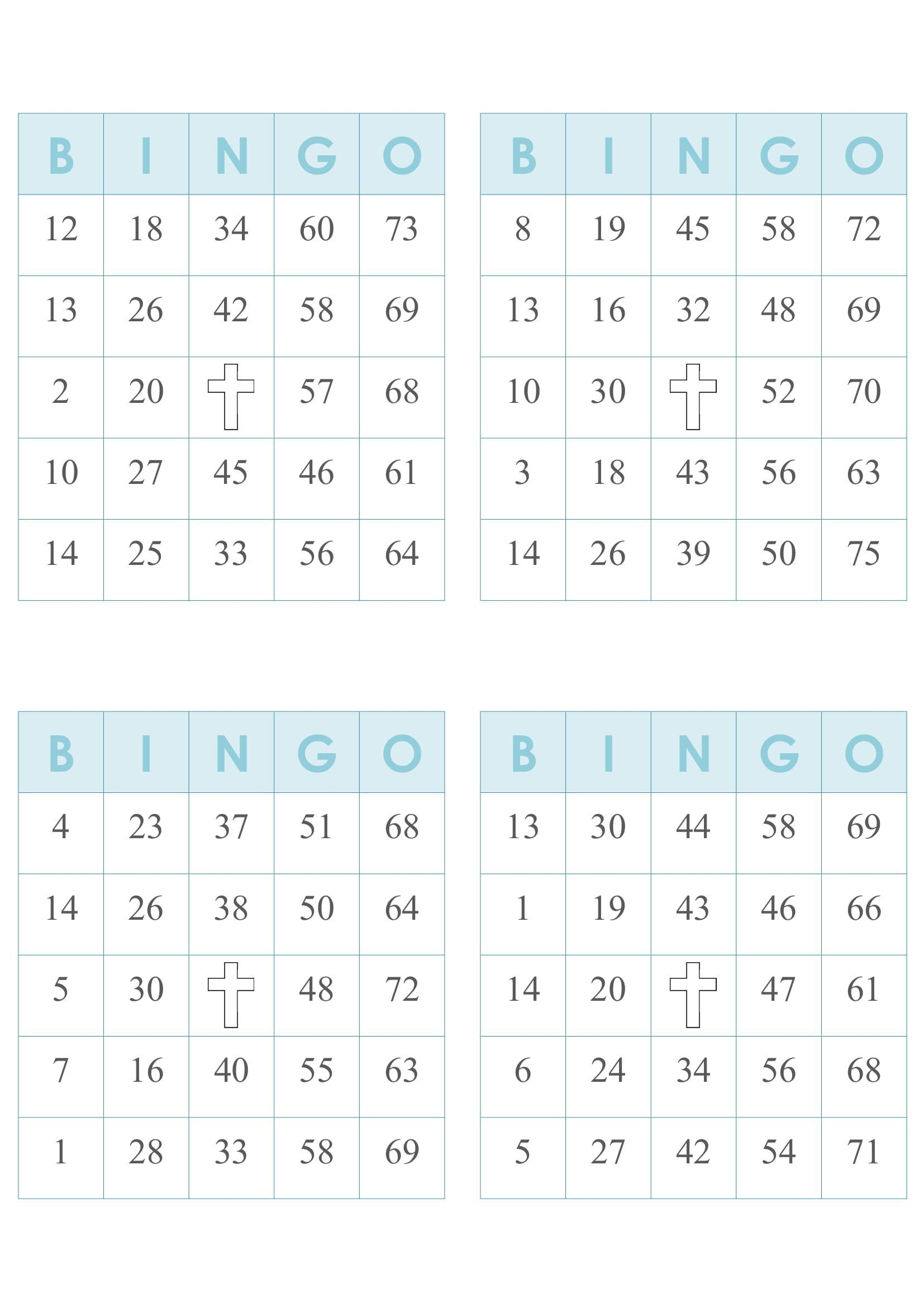 2000 Bingo Cards, 4 Per Page, Immediate Pdf Download, Blue W