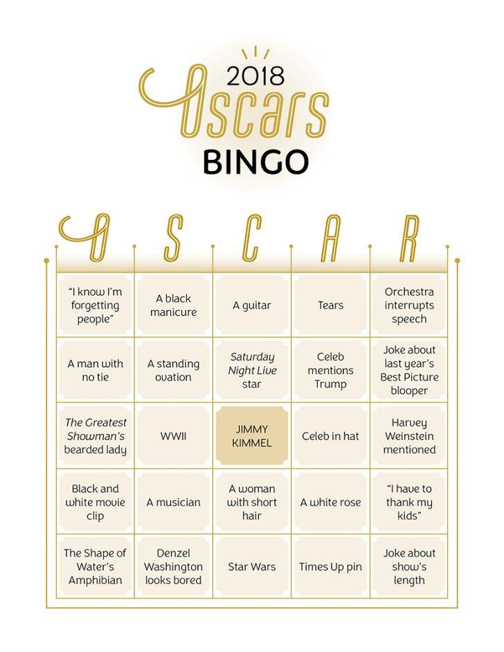 Oscar 2018 Bingo Cards Printable