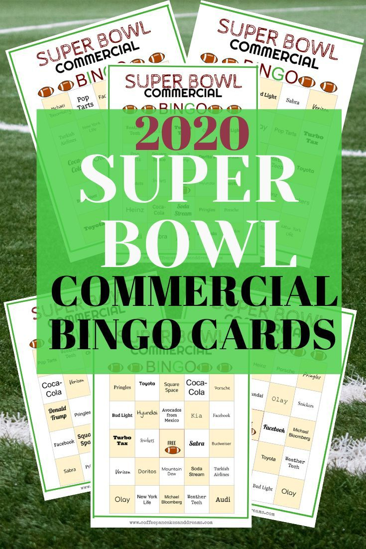 2020 Super Bowl Commercial Bingo Cards Free Printable