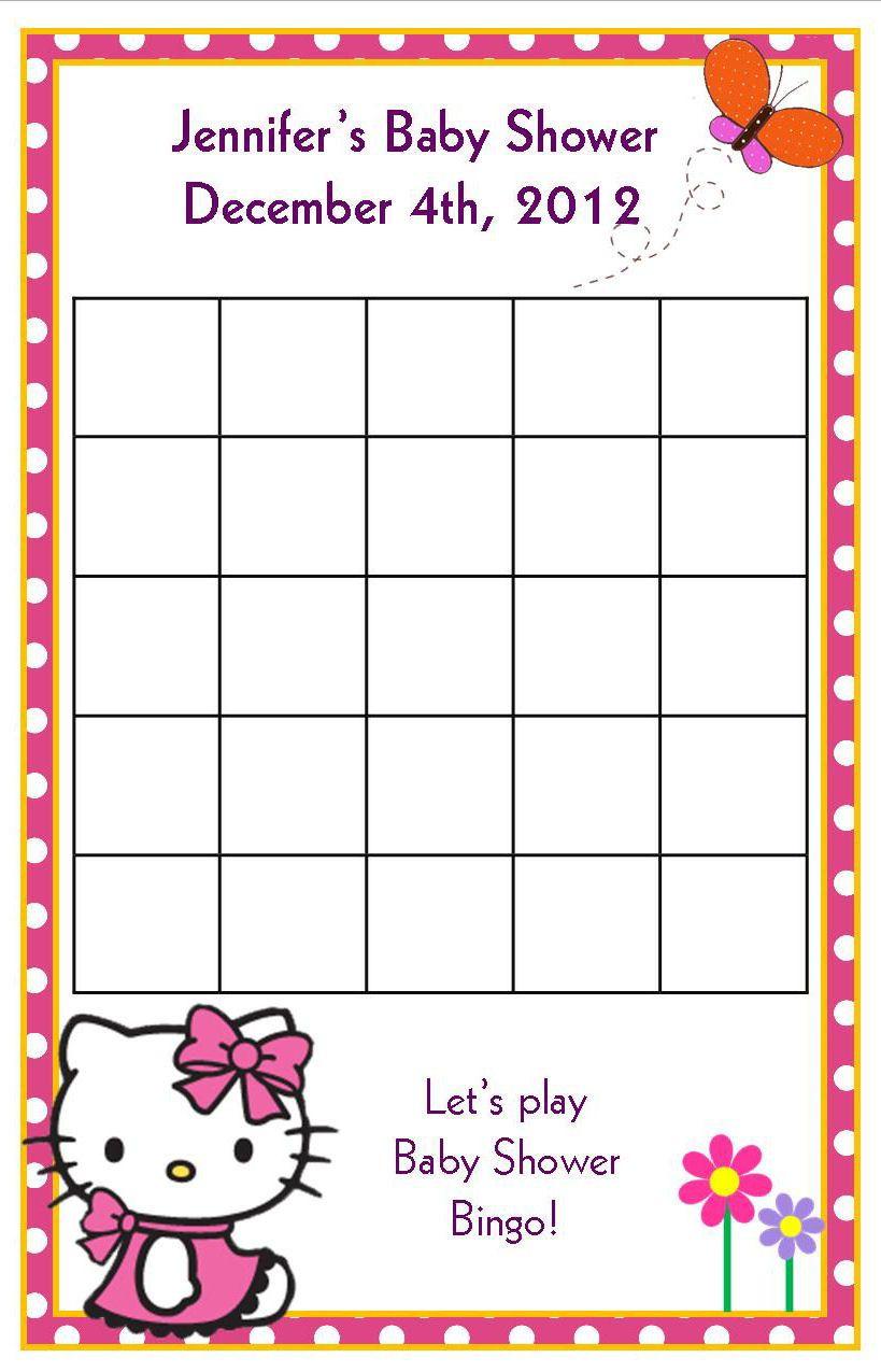24Hello Kitty Baby Shower Bingo Cardsbugaboosdesigns On