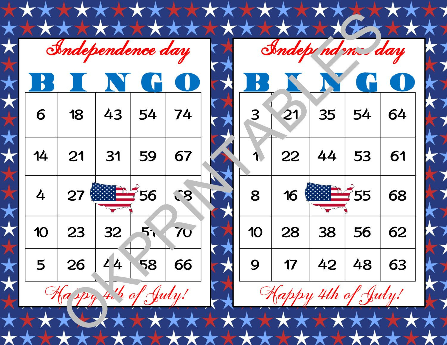 50 Happy 4Th Of July Bingo Cards - Instant Download