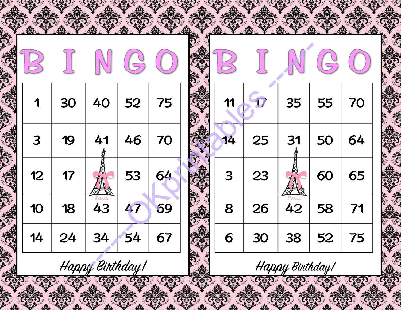 60 Happy Birthday Parisian Party Bingo Cards - Printable