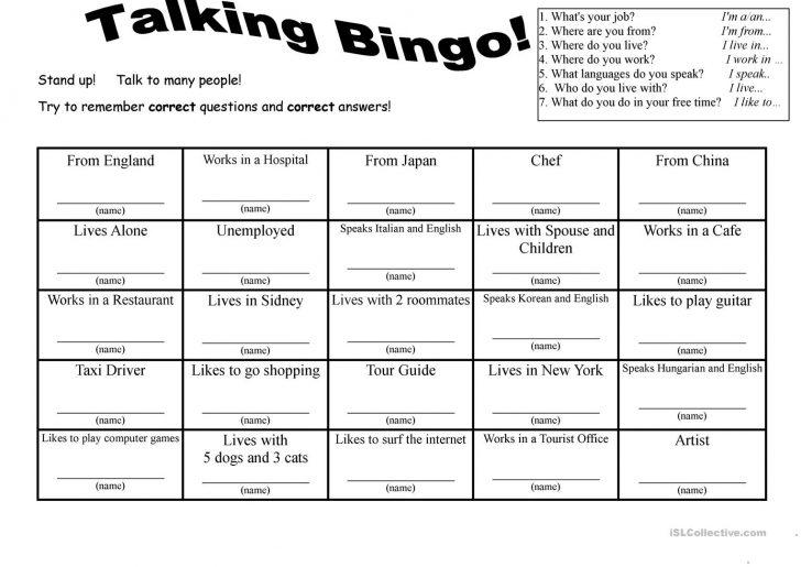 Free Printable Esl Bingo Cards