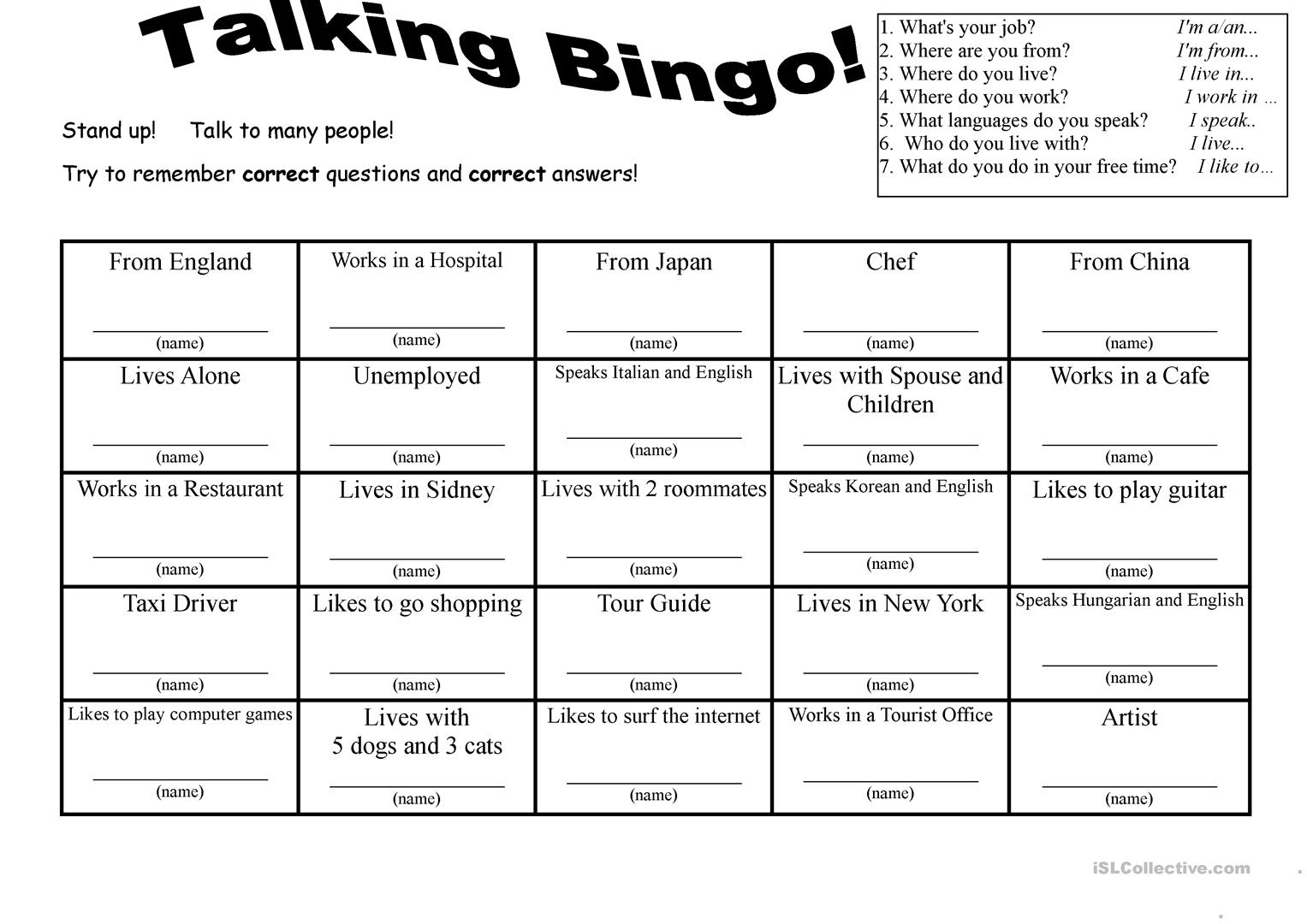 7 Questions Talking Bingo With Role-Play Cards - English Esl
