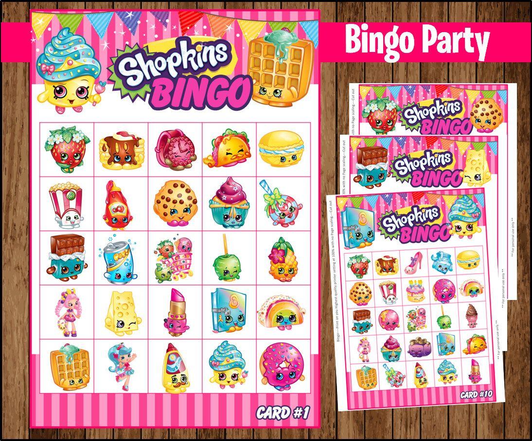 80% Off Sale Shopkins Bingo 10 Cards Game Instant Download