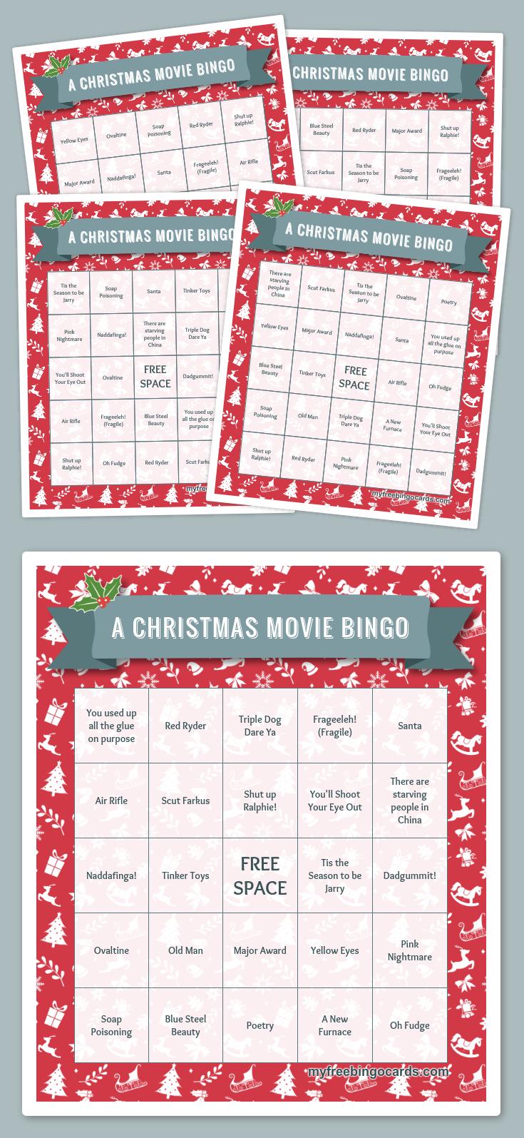 A Christmas Movie Bingo | Printable Christmas Bingo Cards
