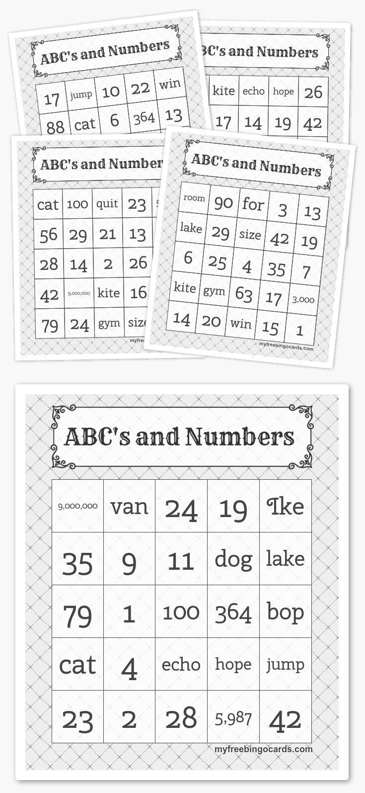 Abc's And Numbers Bingo | Free Printable Bingo Cards, Bingo