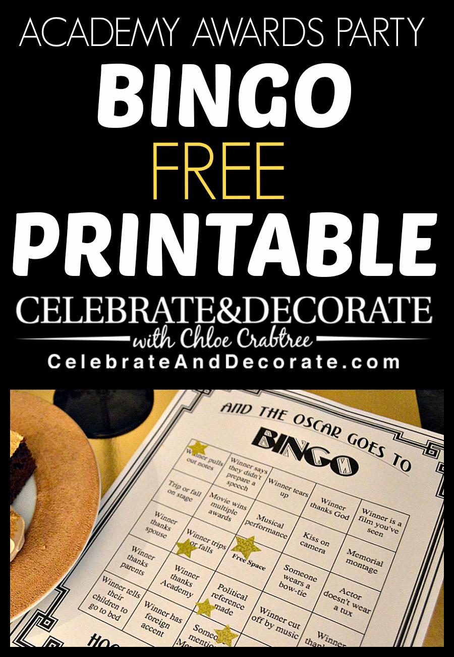 Academy Awards Party Bingo Free Printables   Hollywood