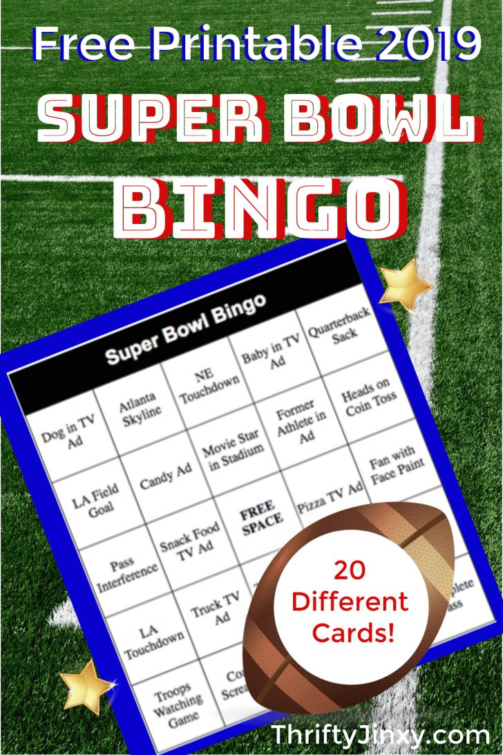 Free Printable Super Bowl 2019 Bingo Cards