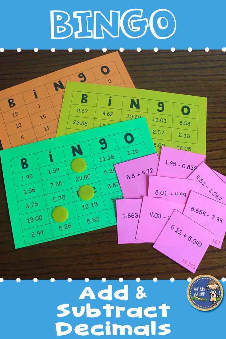 Adding And Subtracting Decimals Bingo Math Game | 5Th Grade