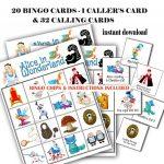 Alice In Wonderland Bingo Printable Game 20 Different Cards
