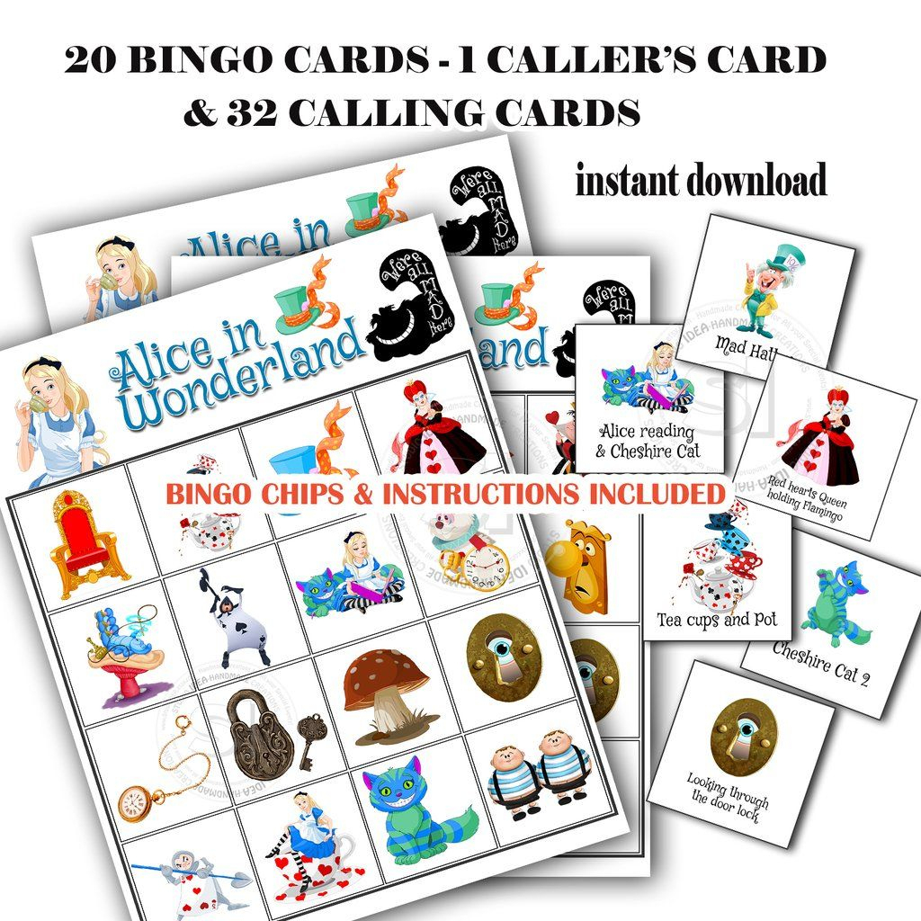 Alice In Wonderland Bingo Printable Game-20 Different Cards