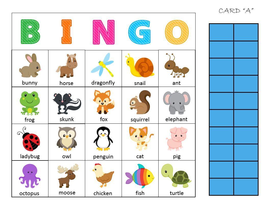 Animal Bingo Card   Bingo Printable, Pets Preschool