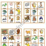 Animals Bingo Cards 2/3   Esl Worksheetpetili Em 2020