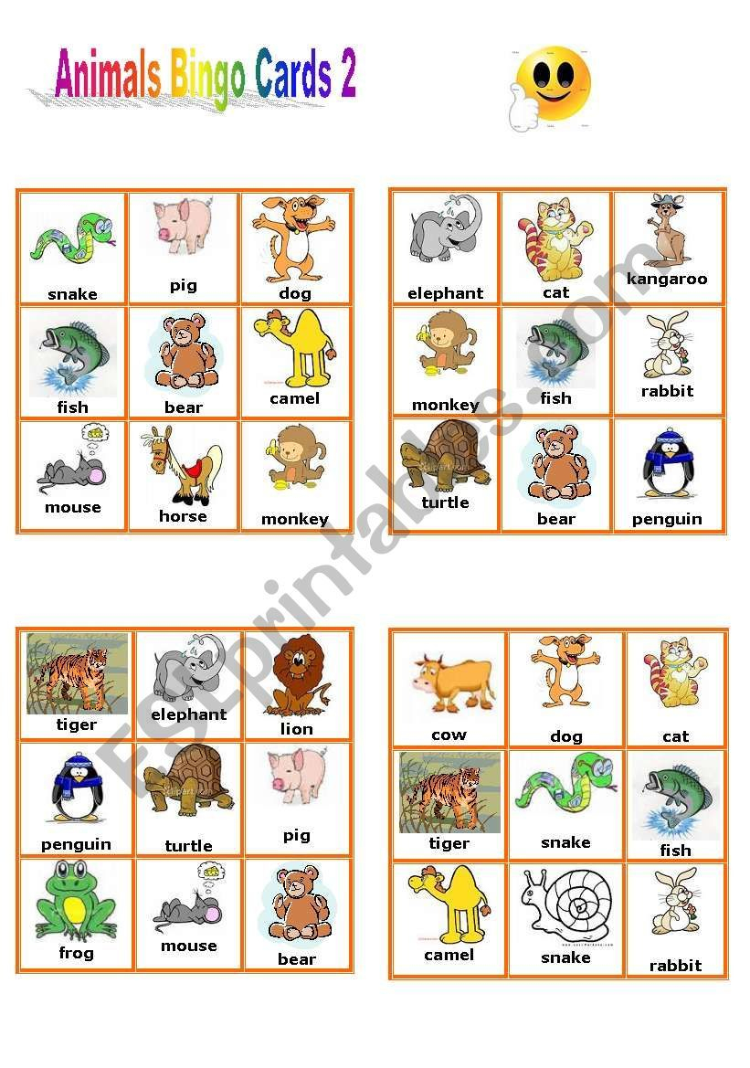 Animals Bingo Cards 2/3 - Esl Worksheetpetili Em 2020