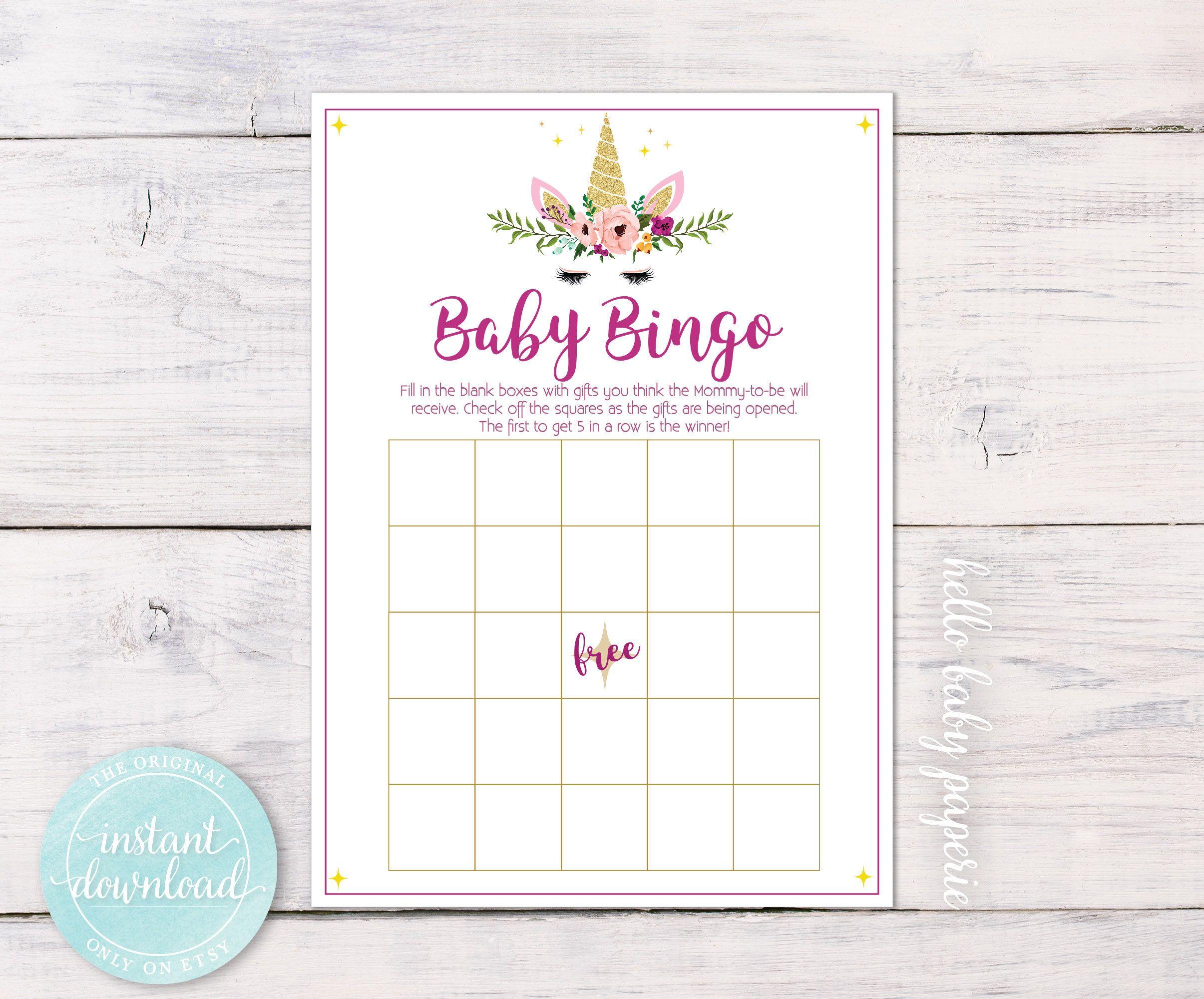 Baby Shower Bingo, Bingo Cards, Baby Shower Game, Unicorn