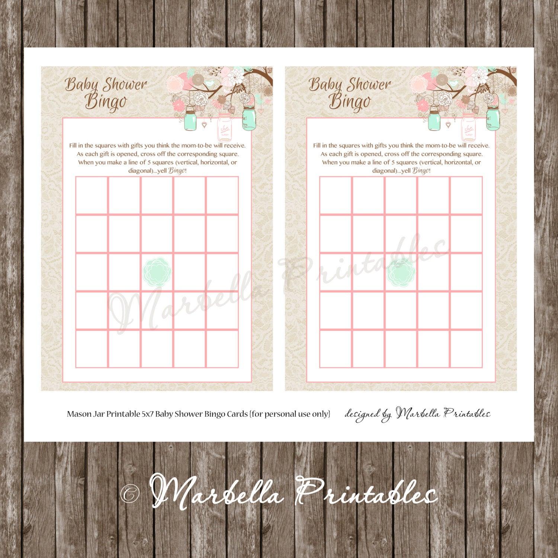 Baby Shower Bingo Cards-Mason Jar Mint + Coral Vintage Lace Bingo  Cards-Printable-Instant Download-Baby Shower Games-Mason Jar-Lace