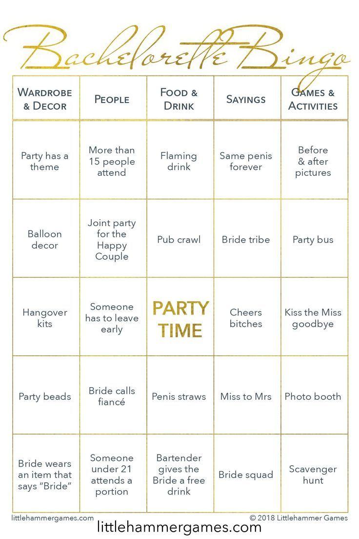 Bachelorette Bingo - Gold Printable Game Cards