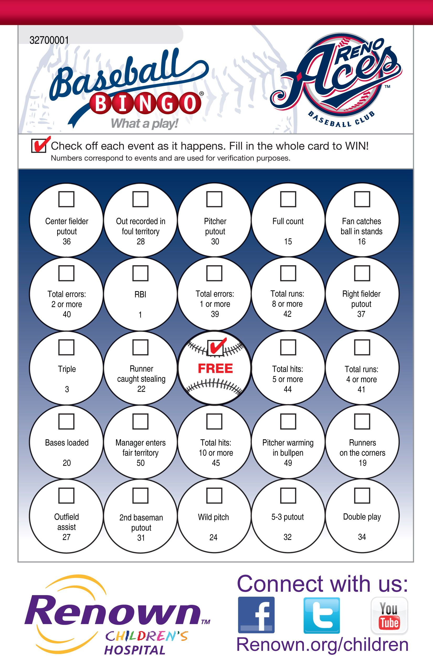 Baseball Bingo - Fan Engagement - Www.playsidelinesports