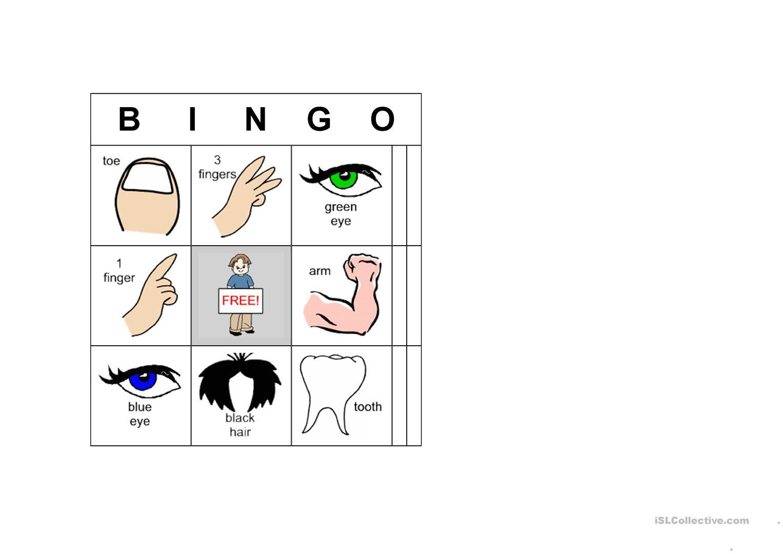 Bingo Body Parts - English Esl Worksheets For Distance
