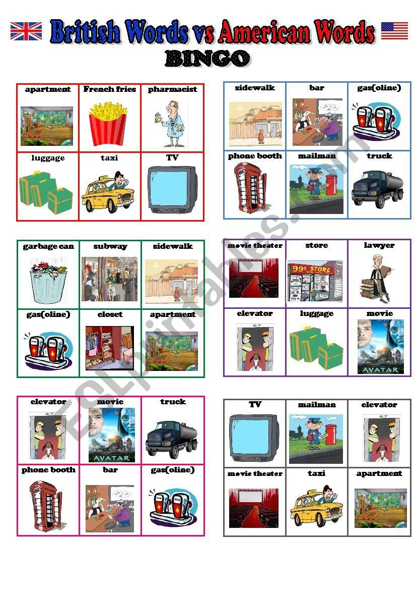 Bingo (British English Vs American English) - 24 Different