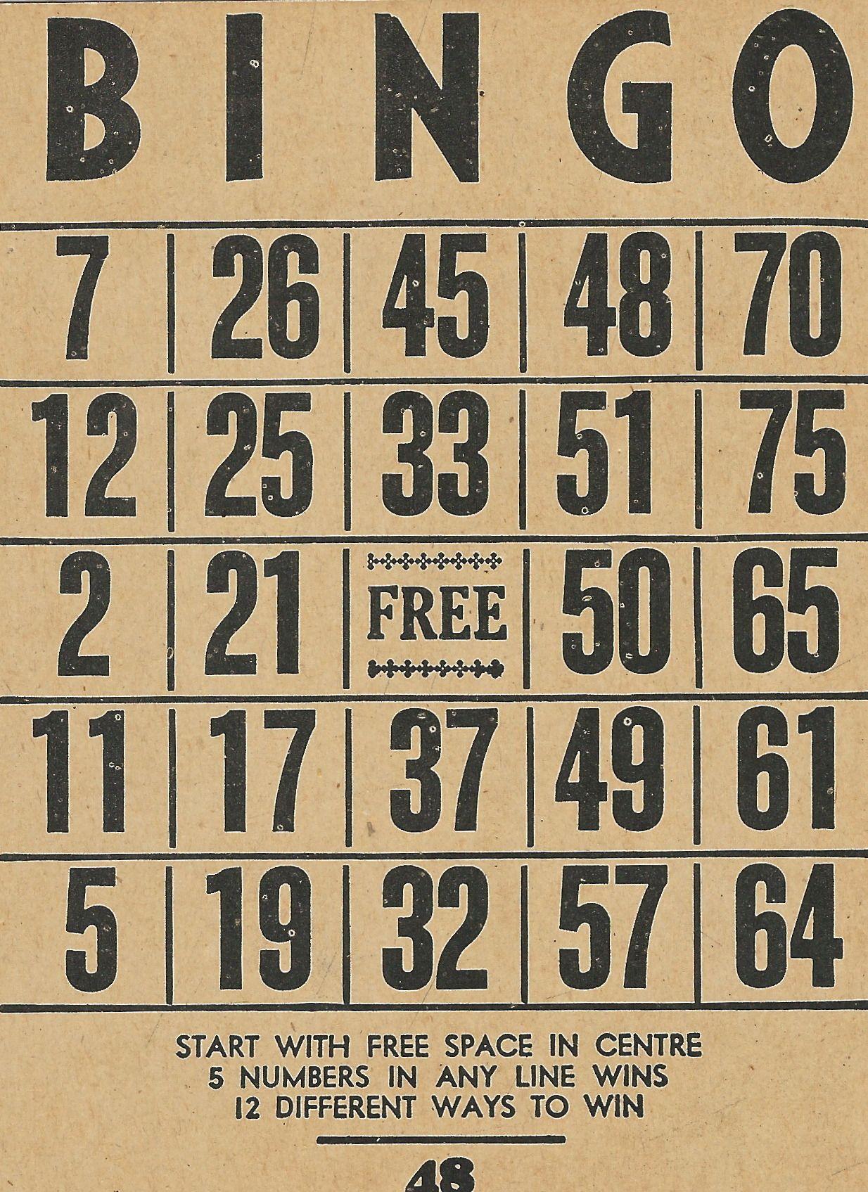 Bingo Card . 1950S Vintage Ephemera Collection | Bingo Cards