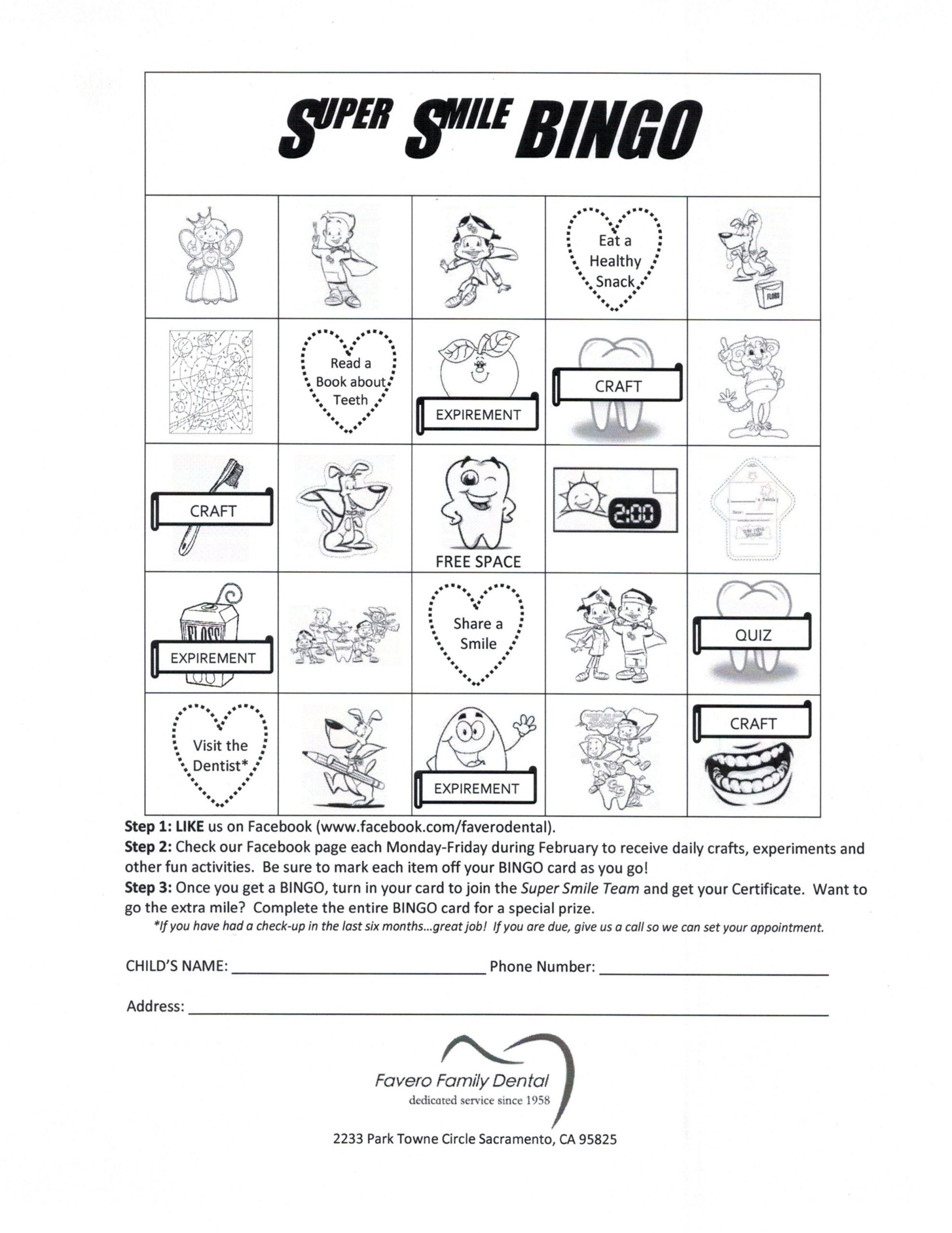 Bingo Card | Childrens Dental Health Month, Childrens Dental