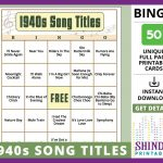 Bingo Card Game: 1940S Song Titles! Wwii Themed Events