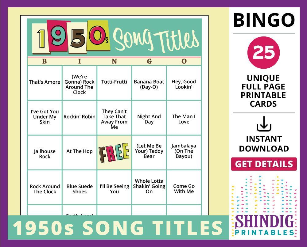 Bingo Card Game: 1950S Song Titles! Fifties Sockhops, Senior