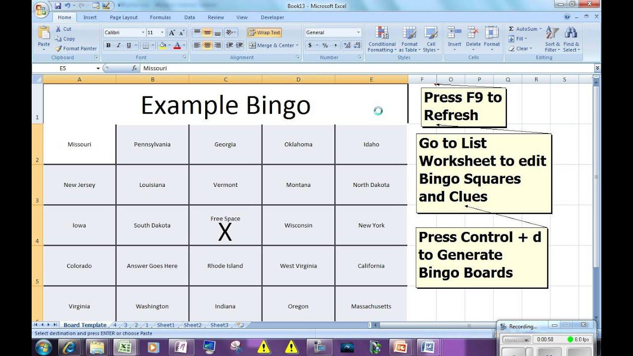 Bingo Card Generator - Microsoft Excel Free Download