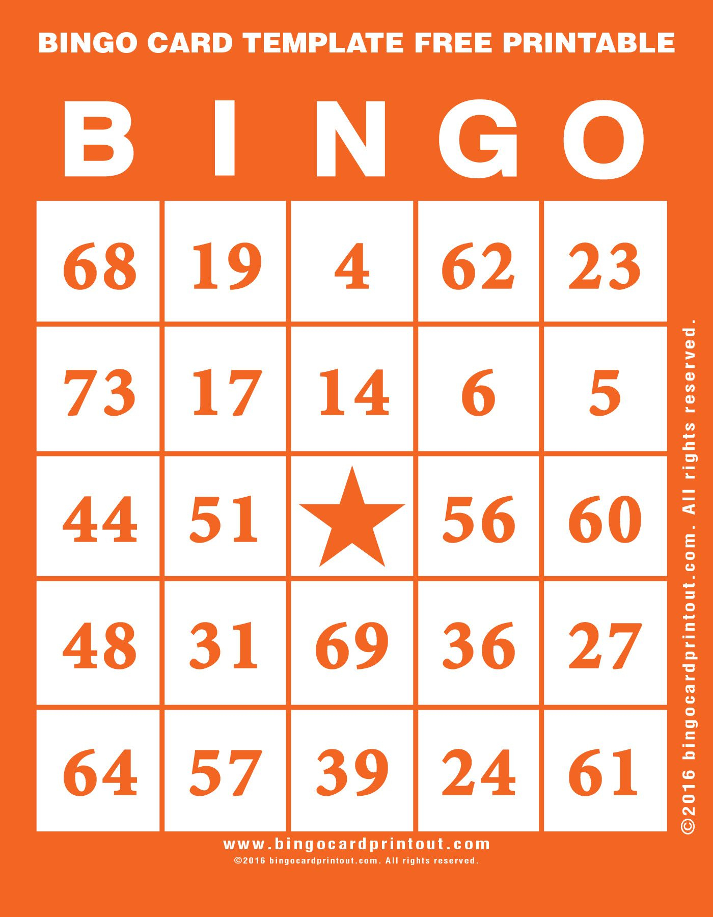 Bingo Card Template Free Printable   Bingo Card Template