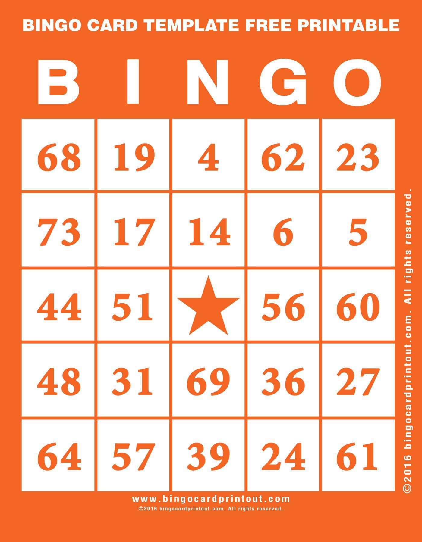 Bingo Card Template Free Printable | Bingo Card Template