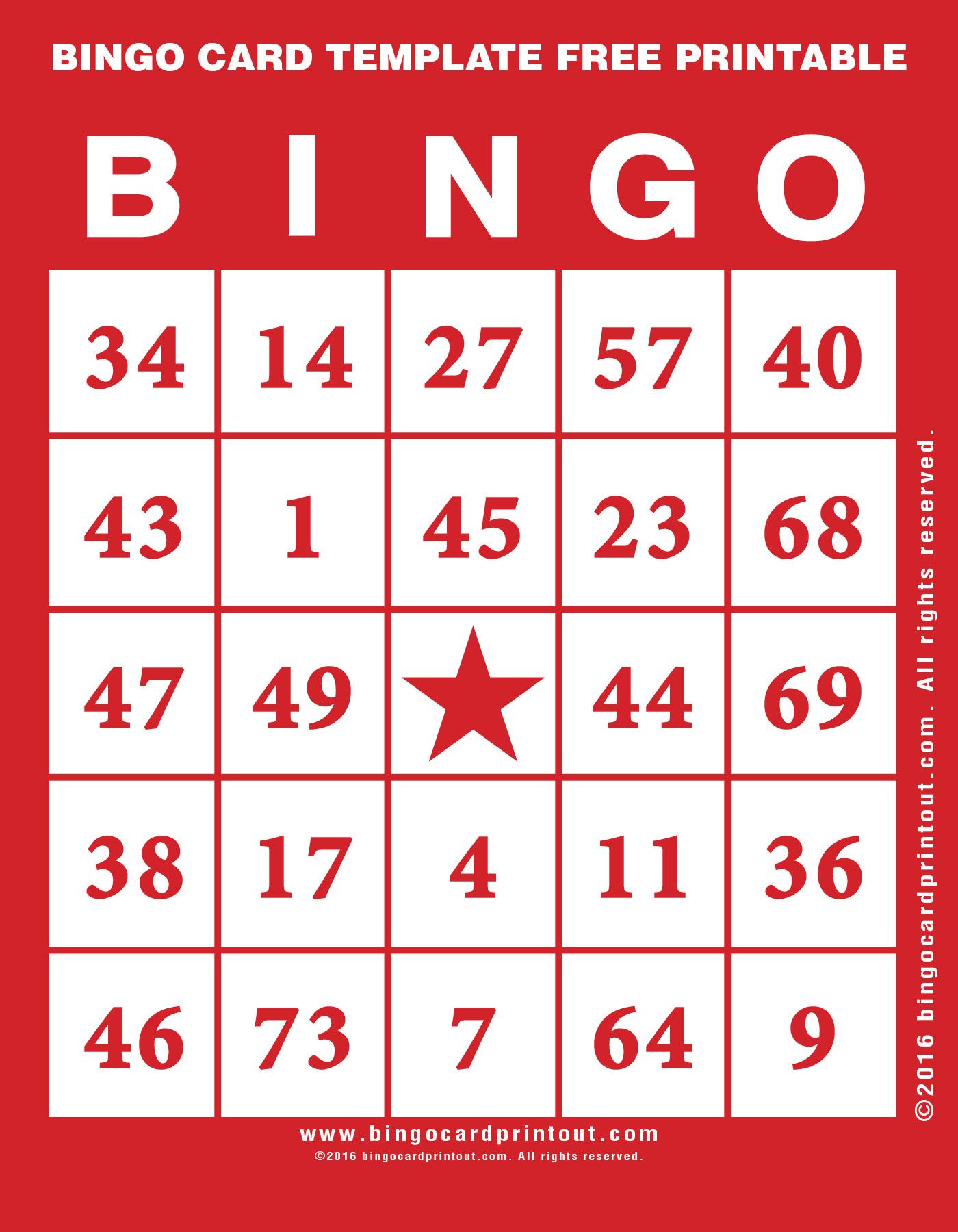 Bingo Card Template Free Printable - Bingocardprintout
