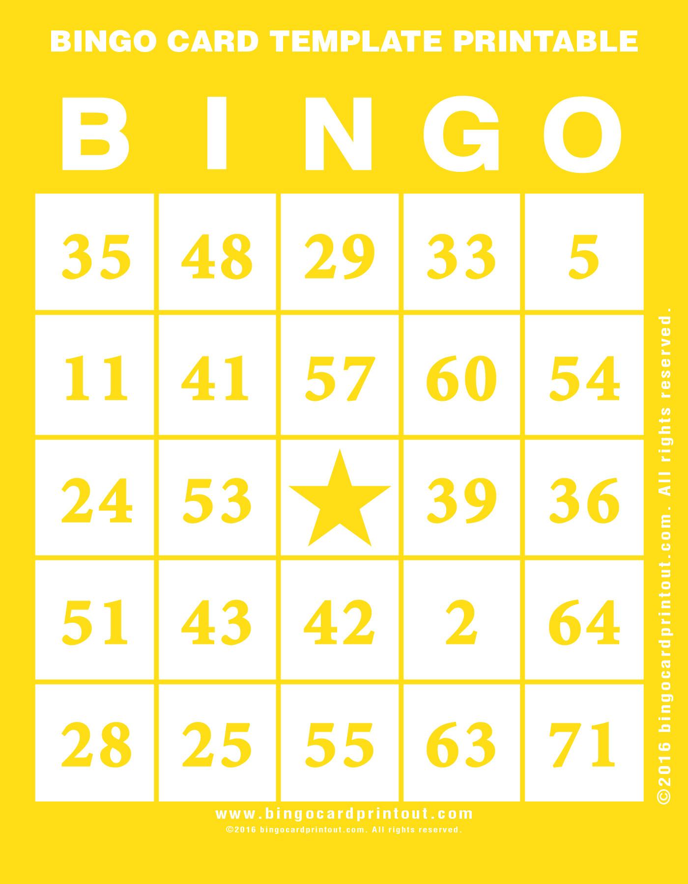 Bingo Card Template Printable - Bingocardprintout