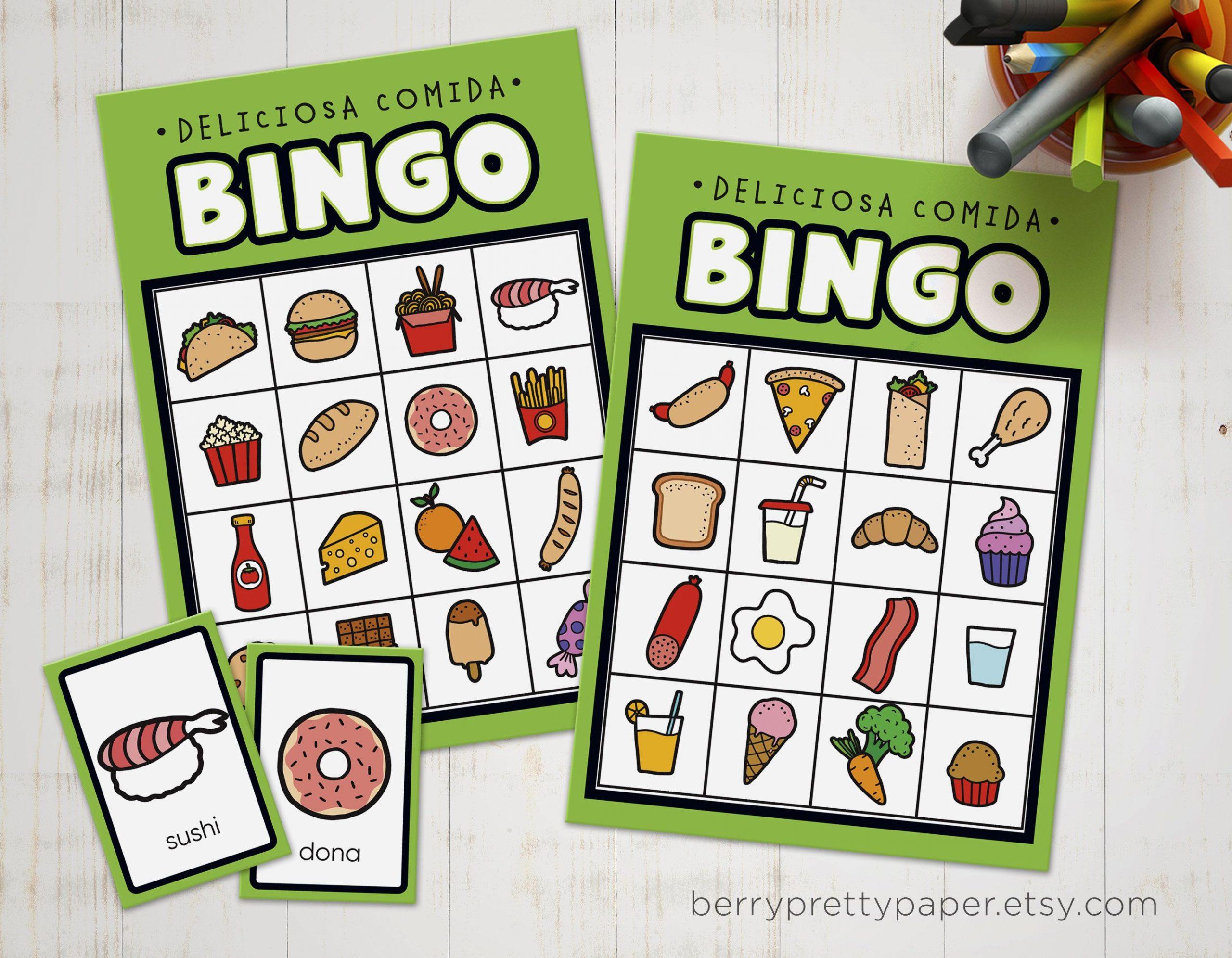 Bingo In Spanish For Kids Food Version - Bingo Game To Learn